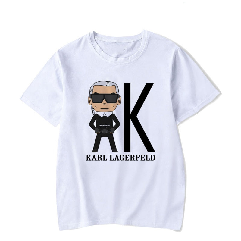 Karl Lagerfeld t shirt women summer 2019 Vogue tshirt Unisex graphic tees angel top white aesthetic short sleeve tee shirt femme