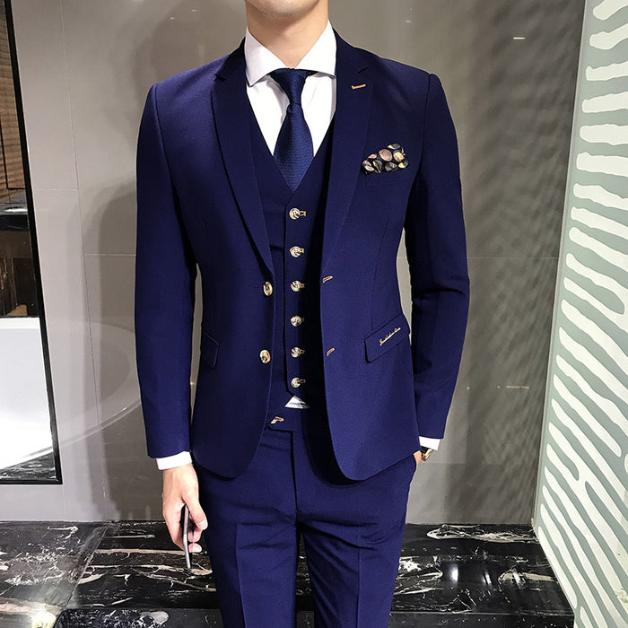 LEFT ROM Blue Men's Suits Jackets + Vests + Suit Pants S M L 3XL Fashion Business Wedding Banquet Gentleman Elegant Clothing - Shoplootlos