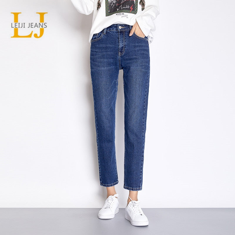 LEIJIJEANS Light Blue Color Plus Size Cotton loose Harem Denim pant Mid Waist Full Length Regular Boyfriend Jeans for Women 7502