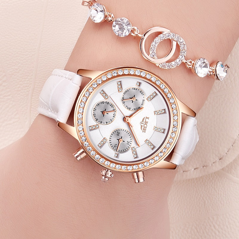 LIGE Fashion Brand Girl Diamond Dial Women Watches Luxury Golden Leather Ladies Watch Women Dress Clock Calendar relogio feminin - Shoplootlos