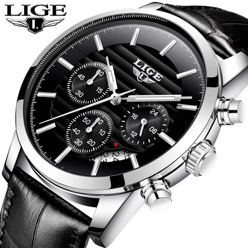 LIGE Mens Watches Top Brand Luxury Fashion Casual Sport Quartz Watch Men Leather Waterproof Business Watches Relogio Masculino