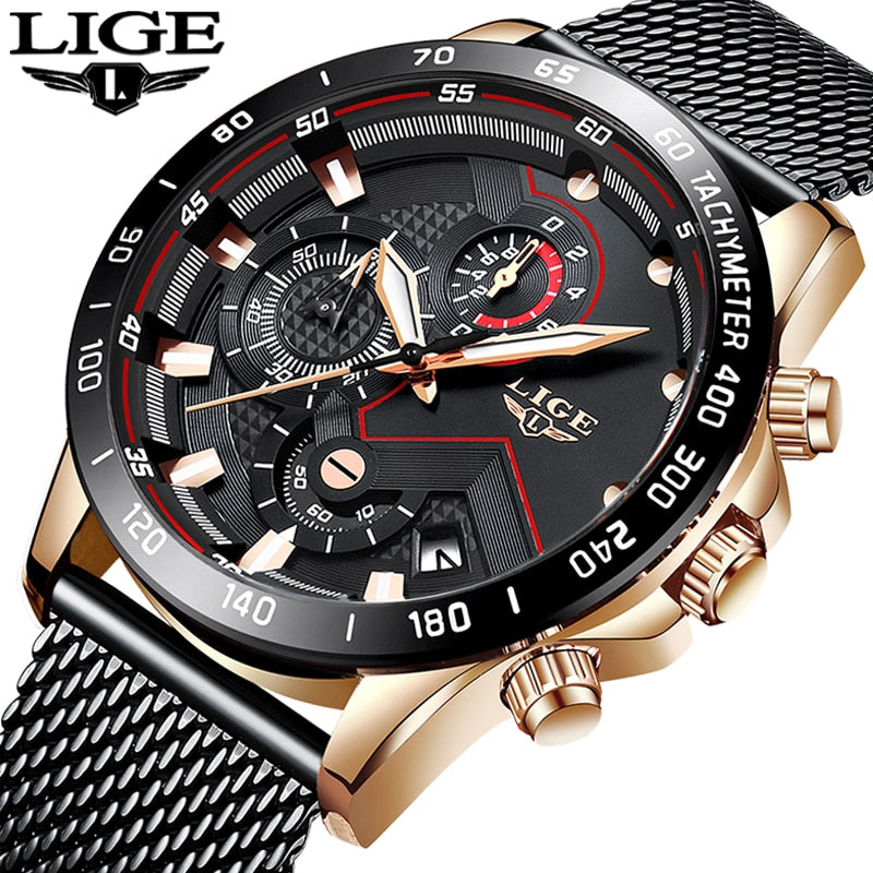 LIGE New Mens Watches Top Brand Luxury Quartz Clock Mesh Steel Date Chronograph Waterproof Sport Watch for Men Relogio Masculino