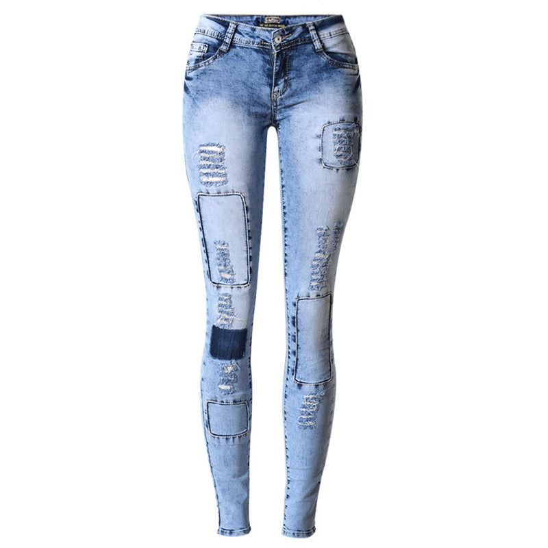 LOGAMI Ripped Jeans for Women Holes Skinny Jeans Slim Femme Womens Jeans Elastic Patchwork Pantalones Vaqueros Mujer 2017