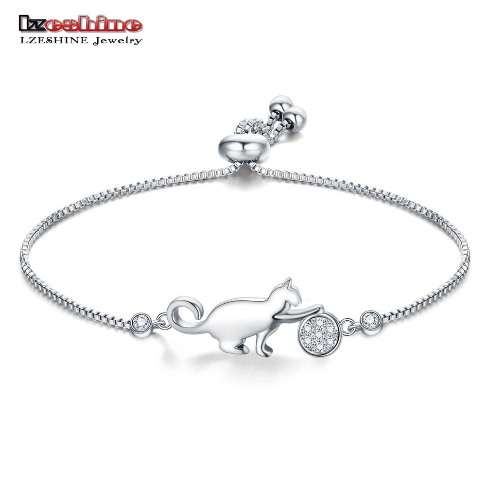 LZESHINE Cat and Ball Lovely Adjustable Bracelets & Bangles Simple Silver Color Bracelet Mujer Jewelery Party Gifts - Shoplootlos