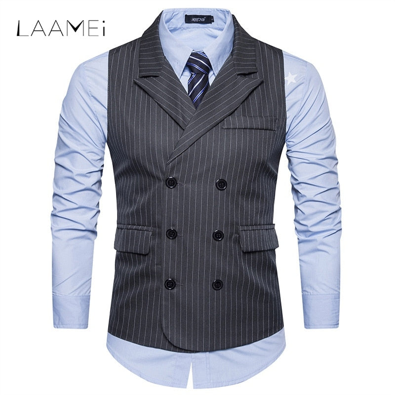 Laamei Men Vests Double Breasted Gentlemen Mens Shawl Collar Stripe Vests Suit Formale Vest Business Chalecos Para Hombre - Shoplootlos