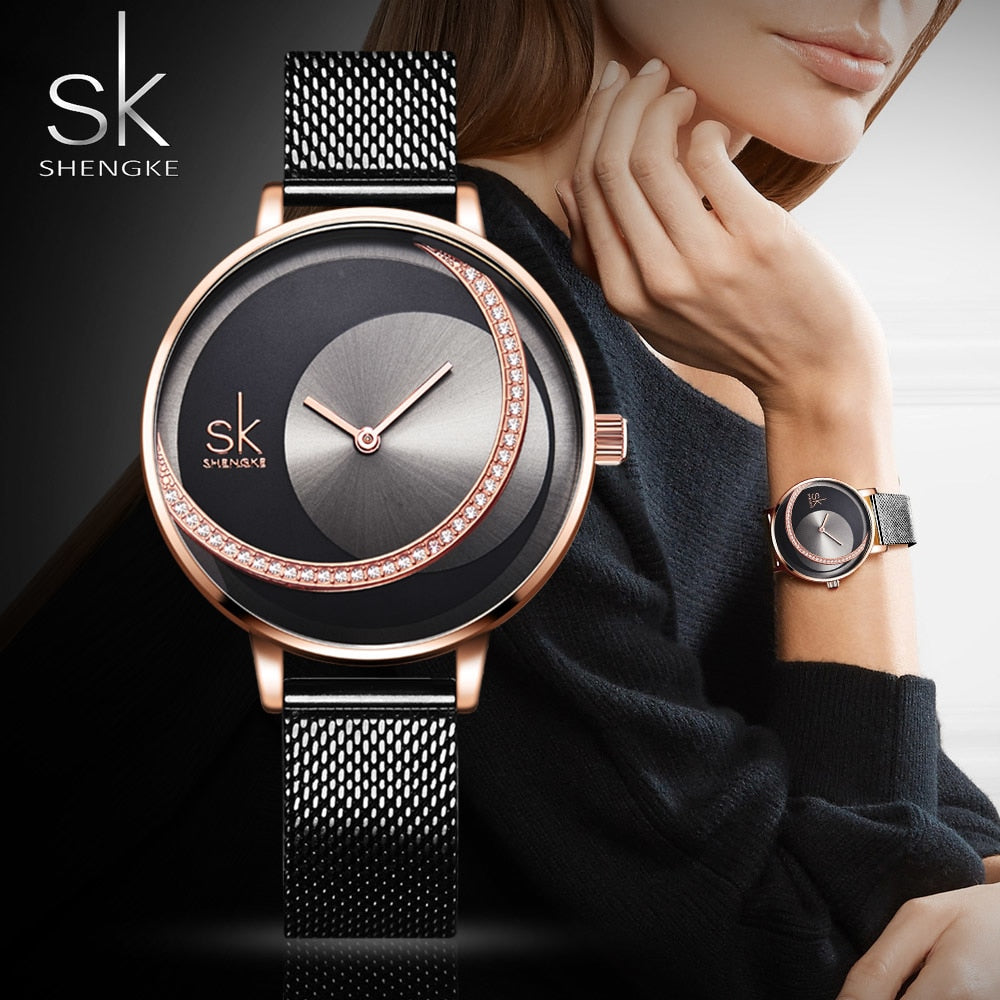 Light Luxury Women Watch Fashion Rose Gold Elegant Quartz Wristwatch SHENGKE Brand Unique Creative Waterproof Lady Gift Clock - Shoplootlos