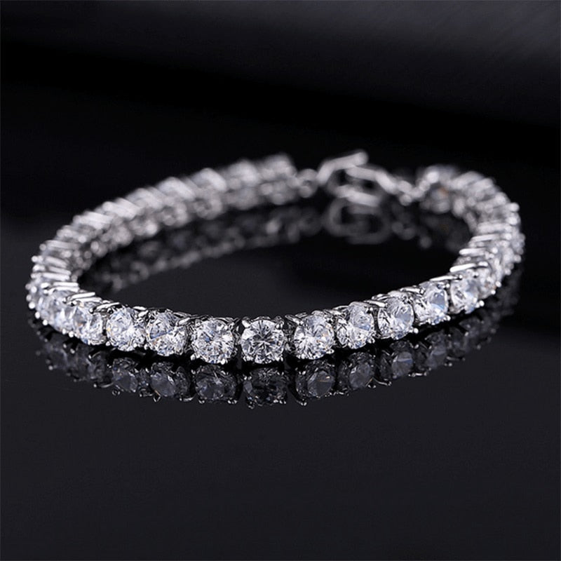 Luxury 4mm Gold Silver Cubic Zirconia Tennis Bracelets Iced Out Chain Crystal Wedding Bracelet For Women Men Couples Jewelry - Shoplootlos