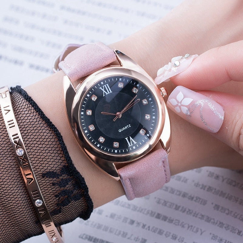 Luxury Brand Watches Women Popular Crystal Quartz Bracelet Watch Ladies Vintage Black Roman Dress Wristwatch Montre Femme - Shoplootlos