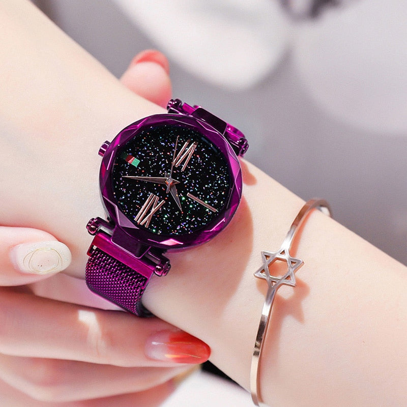 Luxury Purple Vibrato Ladies Watch Starry Sky Magnetic Watch Waterproof Female Wristwatch For Gift relogio feminino montre femme - Shoplootlos