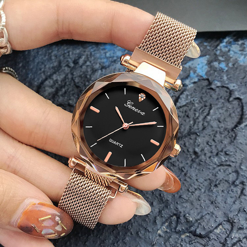 Luxury Rose Gold Women Watches Crystal Female Stainless Steel Mesh Quartz Wrist Watch Montre Femme 2018 Exquisite Ladies Watch - Shoplootlos