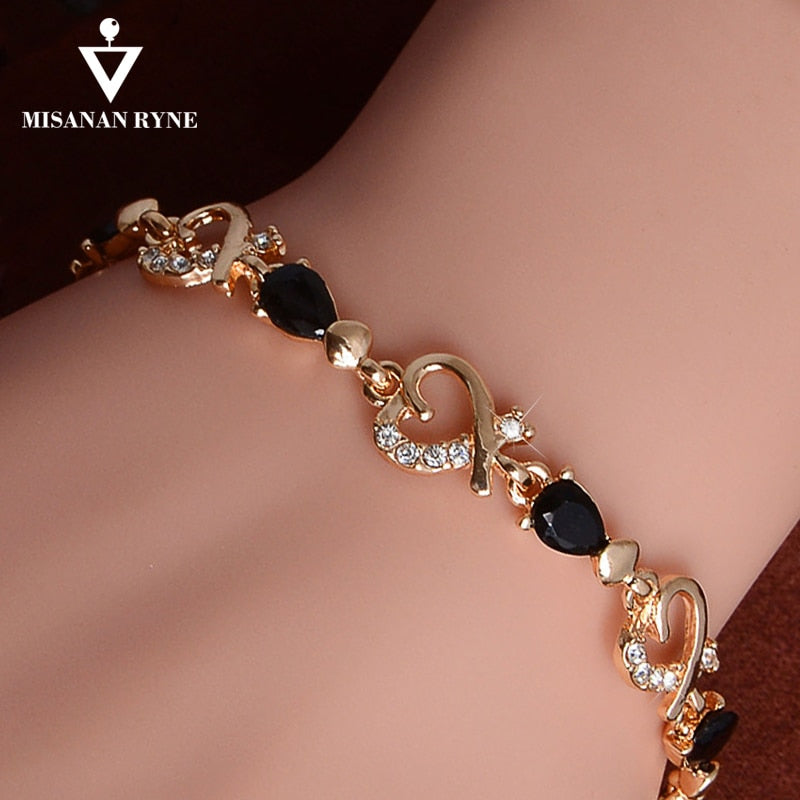 MISANANRYNE New 5 colors Beautiful Bracelet for Women Colorful Austrian Crystal Fashion Heart Chain Bracelet Wholesale - Shoplootlos