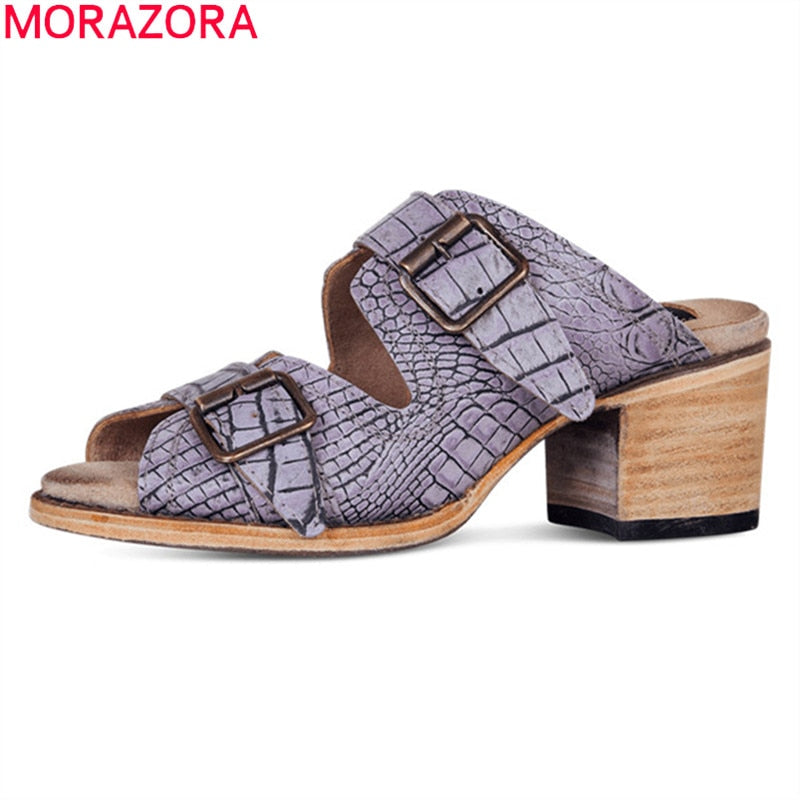 MORAZORA 2019 big size 50 women gladiator sandals peep toe buckle summer shoes lady high heels fashion mules woman casual shoes - Shoplootlos