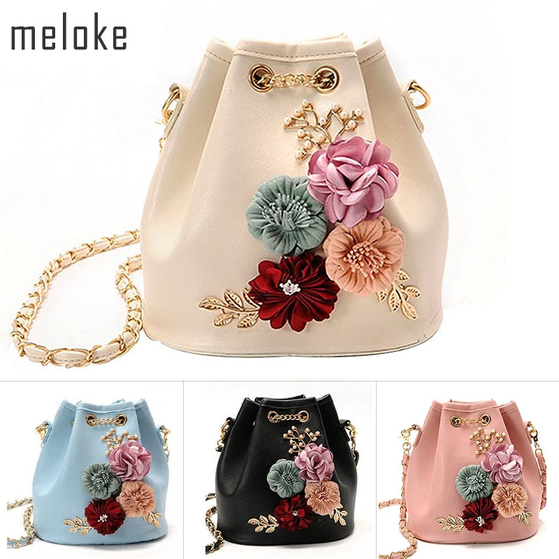 Meloke 2019 Handmade Flowers Bucket Bags Mini Shoulder Bags With Chain Drawstring Small Cross Body Bags Pearl Bags Leaves Decals - Shoplootlos