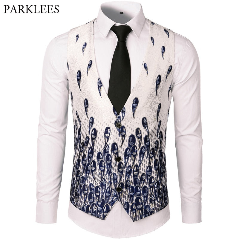 Men Suit Vest Classic V Collar Slim Fit Wedding Waistcoat Mens Luxury Floral Paisley Print Sleeveless Vest Men White Gilet Homme - Shoplootlos