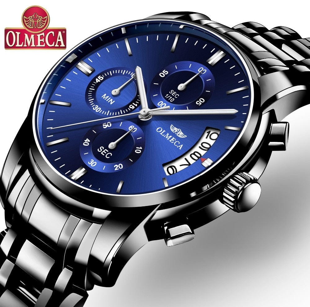Men Watches Top Brand Luxury OLMECA Brand Watch Military Relogio Masculino Chronograph Wrist Watch Female Clock Stainless Steel