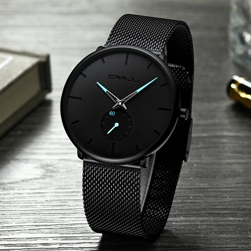 Men Watches Top Luxury Brand CRRJU Fashion Casual Quartz Analog Watch Men's Waterproof Sports Business Wrist Watch Male Clock