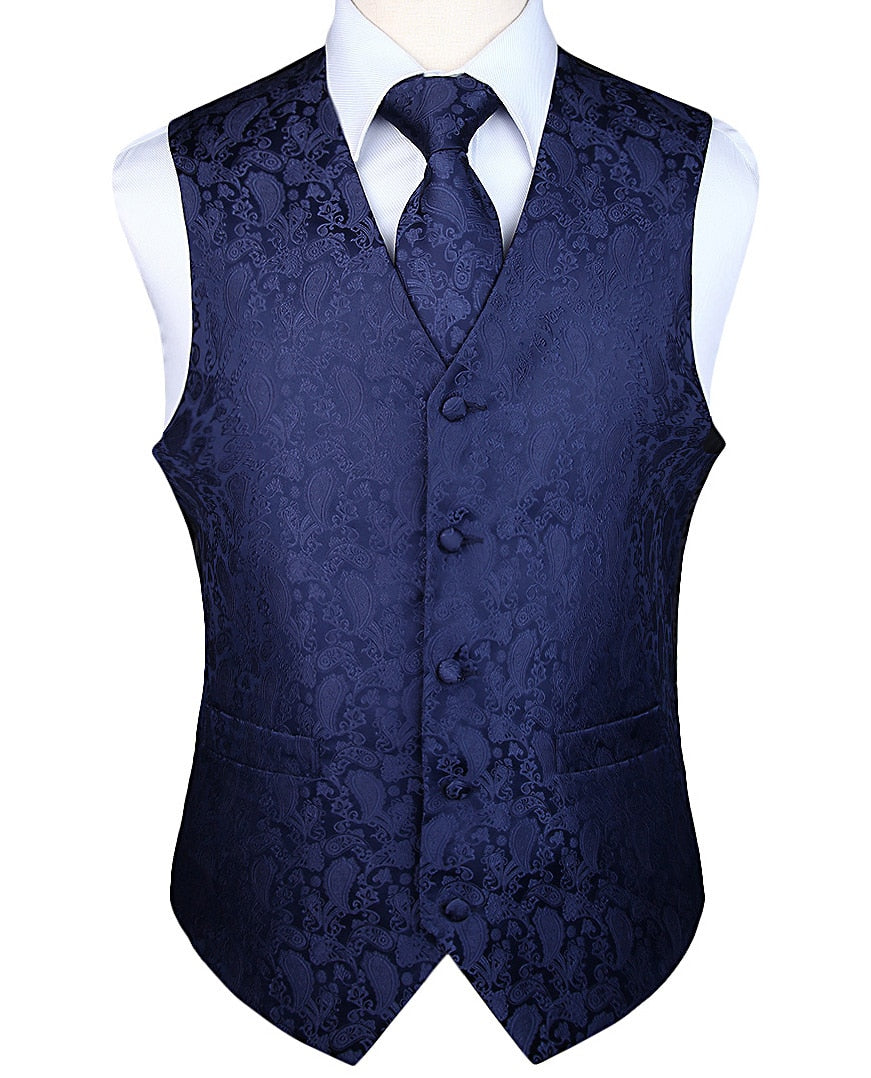 Men's Classic Party Wedding Paisley Plaid Floral Jacquard Waistcoat Vest Pocket Square Tie Suit Set Pocket Square Set - Shoplootlos