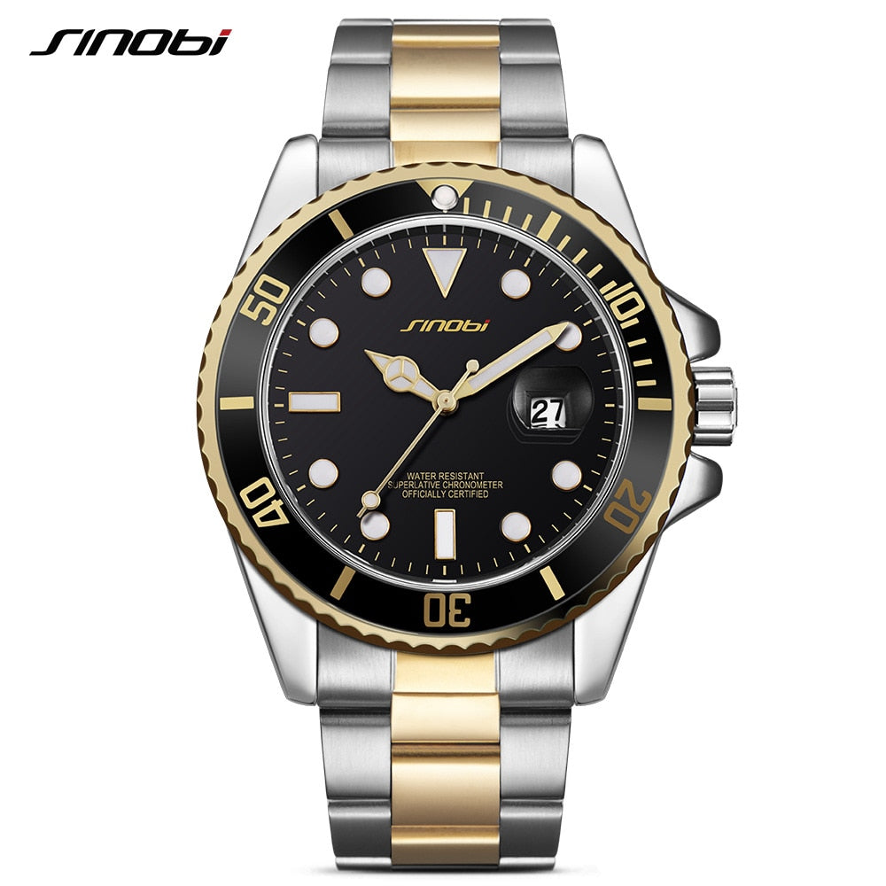 Mens Watches Top Brand Luxury SINOBI Military Sport Quartz Watch Green Rotatable Bezel Mans Waterproof Stainless Steel Relogio