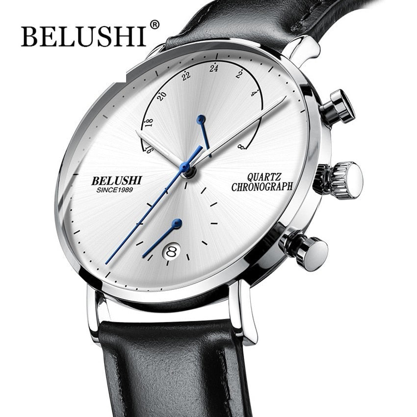 Mens Waterproof Watches Leather Strap Slim Quartz Casual Business Mens Wrist Watch Top Brand Belushi Male Clock 2018 Fashion - Shoplootlos