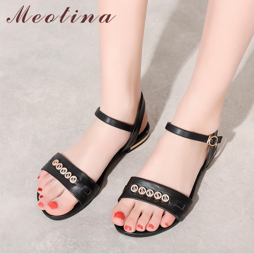 Meotina Women Shoes Summer Sandals Natural Genuine Leather Flat Shoes 2019 Rhinestone Buckle Casual Sandals Lady Big Size 3-12 - Shoplootlos