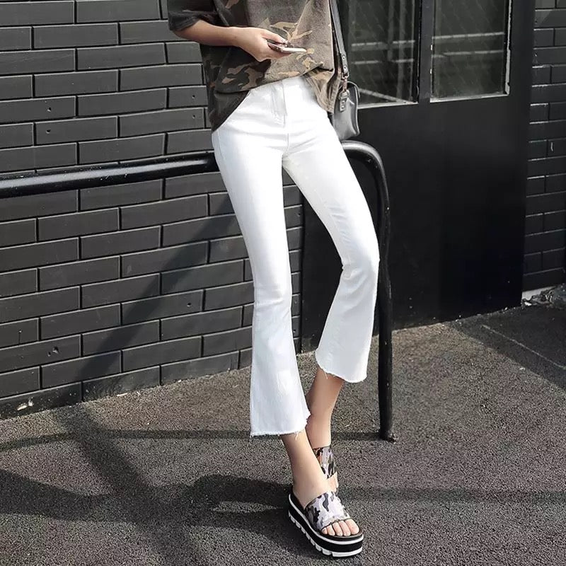 MingJieBiHuo fashion woman jeans Korean new arrival OL lady Casual jeans with zipper mid waisted solid Flare jeans plus size