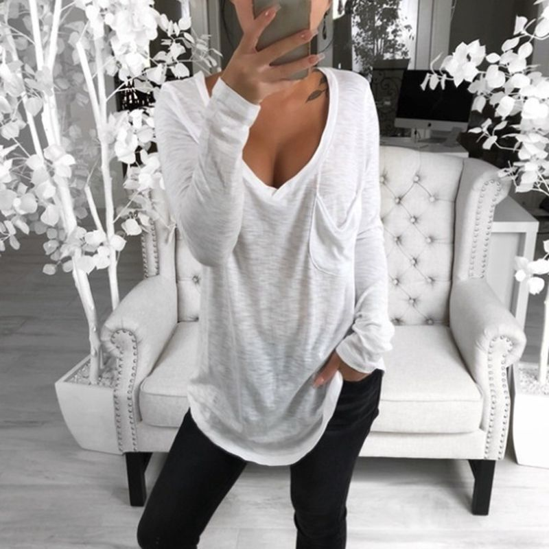 MoneRffi 2019 Summer Women Basic Cotton T-Shirts Spring Long Sleeve V-Neck Casual Long Tops Tee Girls Sexy T-Shirt Plus Size