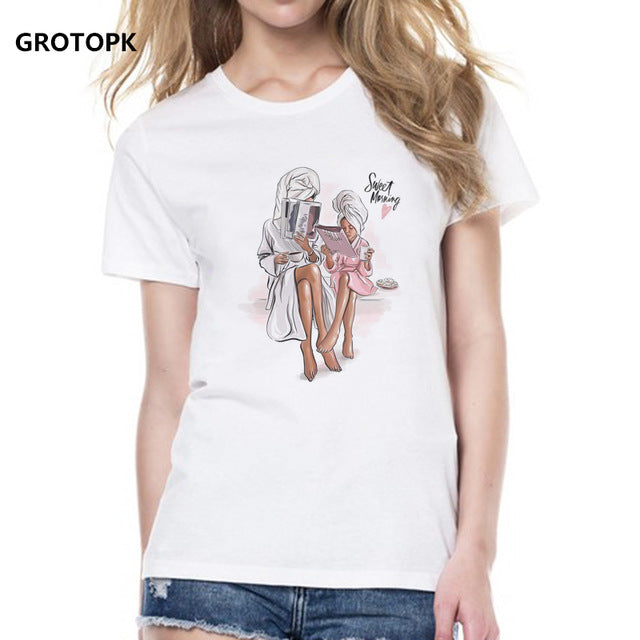 93133546ae Mother's Love T Shirts Family Series Summer 2019 Funny T Shirt Women White T -shirt