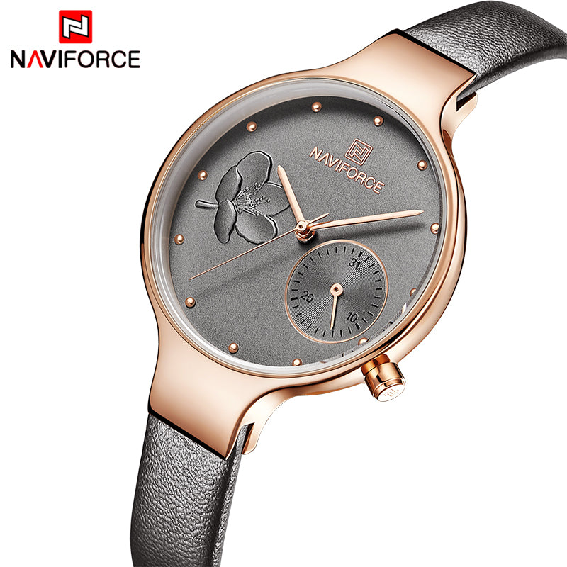 NAVIFORCE Women Watches Top Brand Luxury Fashion Female Quartz Wrist Watch Ladies Leather Waterproof Clock Girl Relogio Feminino - Shoplootlos