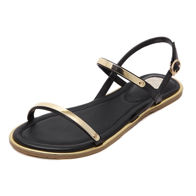 dd0f5fdc2 New 2019 Women sandals sexy thin belt flat sandals for women summer gold  sandals with buckle