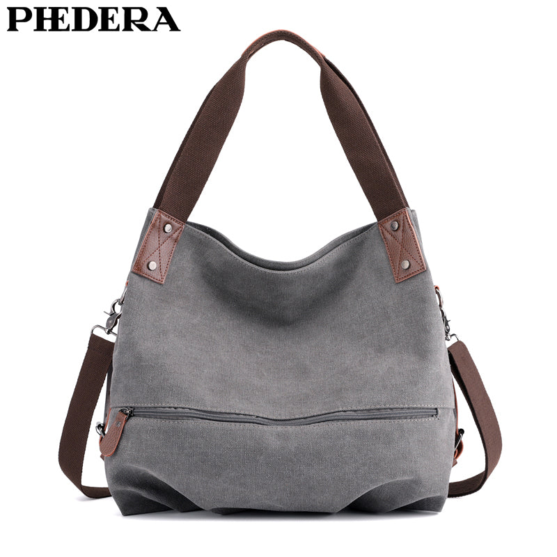 PHEDERA New Fashion Women Canvas Handbags High Quality Casual Female Shoulder Bags Korean Style Lady Purse Bag