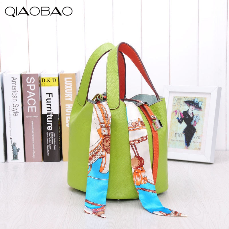 QIAOBAO Famous Brand bag 100% Genuine Leather Bags Bucket bag Europe and the United States fashion cowhide leather Totes