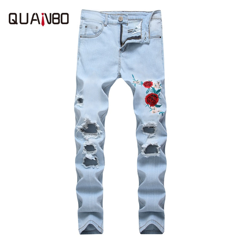 c4ade10ab21 QUANBO Brand Men s Embroidery Hole Ripped Elastic Jeans Straight Slim  Fashion High Street Minimalist Casual Denim