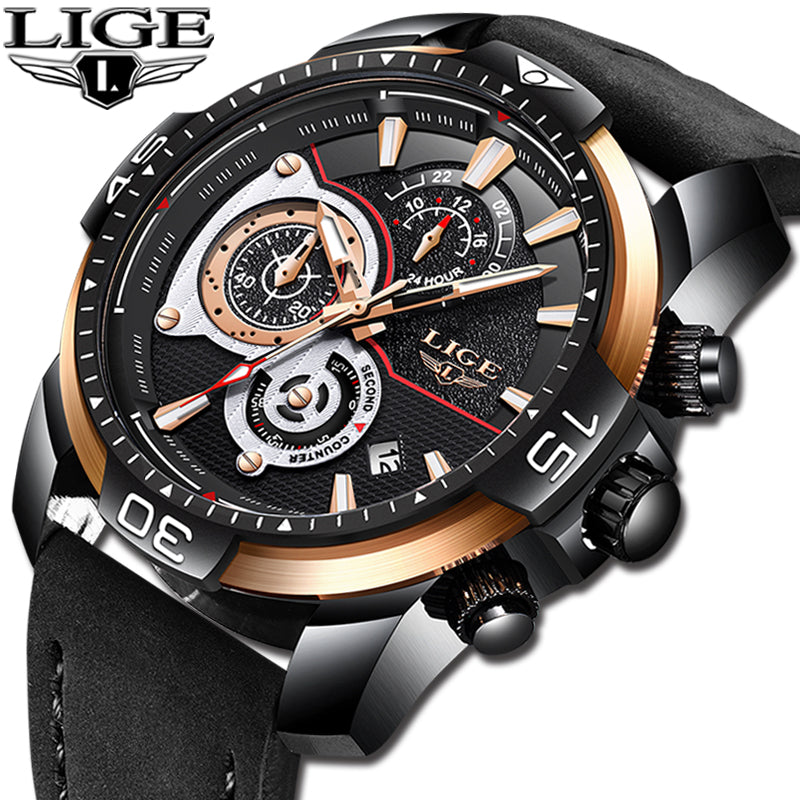 Relogio Masculino 2019 LIGE Mens Watches Top Brand Luxury Casual Leather Quartz Watch Male Waterproof Sports Chronograph Relogio