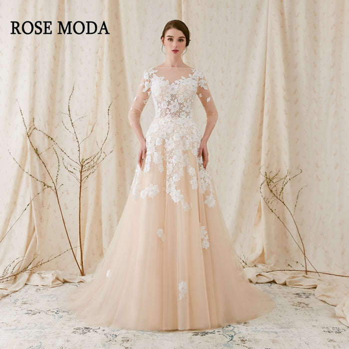 700e06a313b7 Rose Moda French Lace Wedding Dress 2019 with Long SLeeves Champagne Wedding  Dresses with Ivory Lace