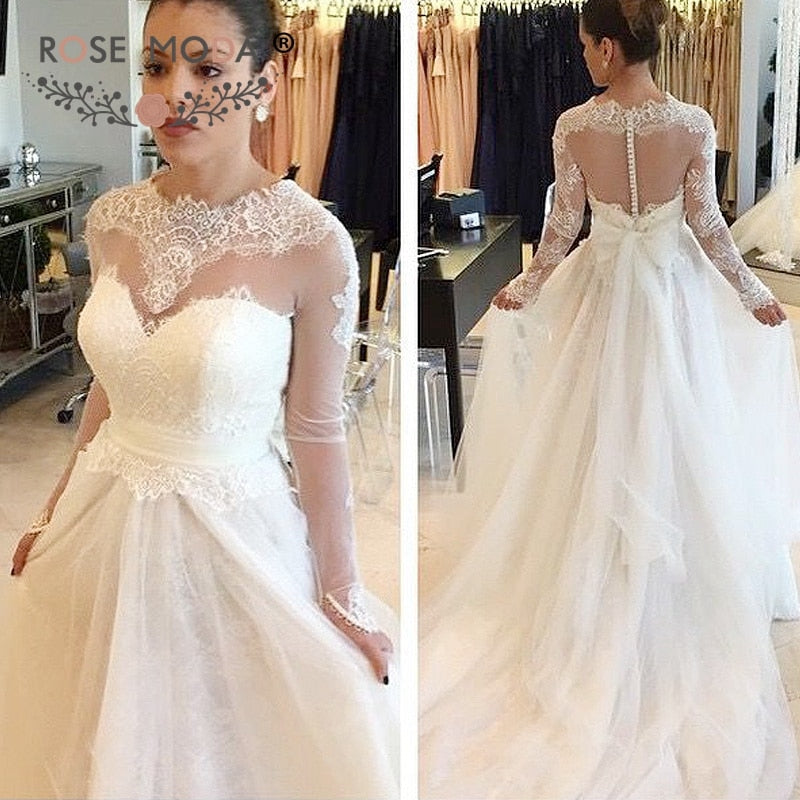 b231ff8ac45c Rose Moda High Neck Long Sleeves Princess Tulle Wedding Dress 2019 Backless  Bridal Dresses with Lace
