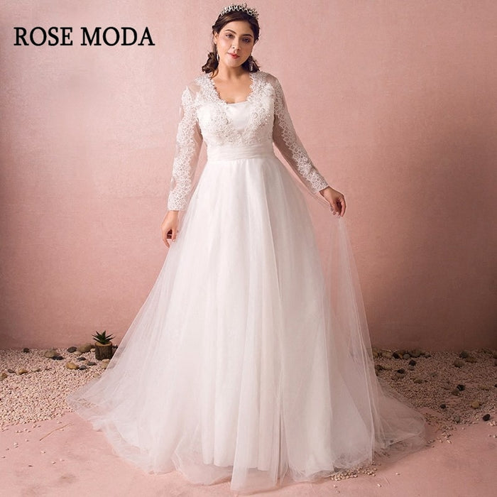 Rose Moda Long Sleeves Plus Size Wedding Dress 2019 Vintage Plus Size  Wedding Gowns with Train Real Photos