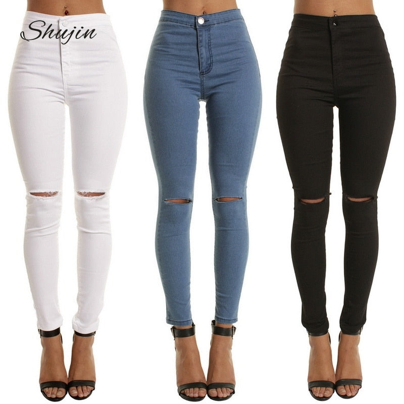 SHUJIN High Waist Casual Skinny Jeans For Women Hole Vintage Girls Slim Ripped Denim Pencil Pants High Elasticity Black Blue