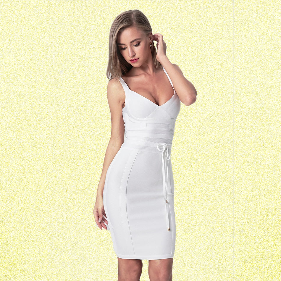 Spaghetti Strap Bandage Dresses 2019 Above Knee Sleeveless Sheath Solid Deep V Backless Fashion Sexy Club Evening Party Dress