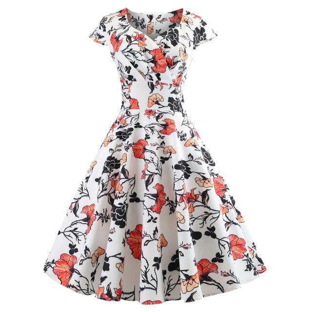 Summer Dress 2019 Short Sleeve Hepburn 50s 60s Vintage Dress Elegant Swing Party Dress Beach Sexy Dress Women Plus Size Vestidos
