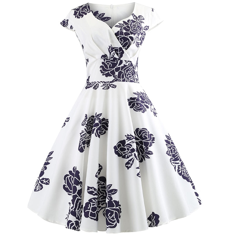 ea3c2d10118 Summer Dress 2019 Short Sleeve Hepburn 50s 60s Vintage Dress Elegant Swing  Party Dress Beach Sexy