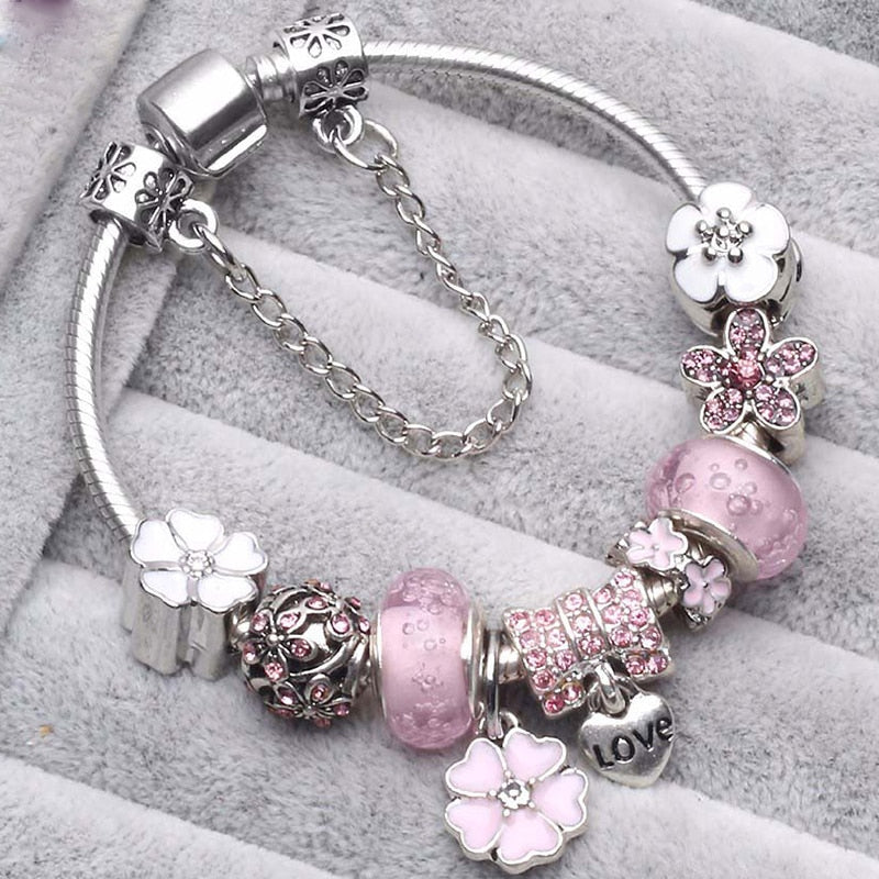 TOGORY New Fashion Grystal&Glass Sunflower Dangles Charm Bracelet Fit Snake Chain DIY Pandora Bracelet for Women Jewelry Gift