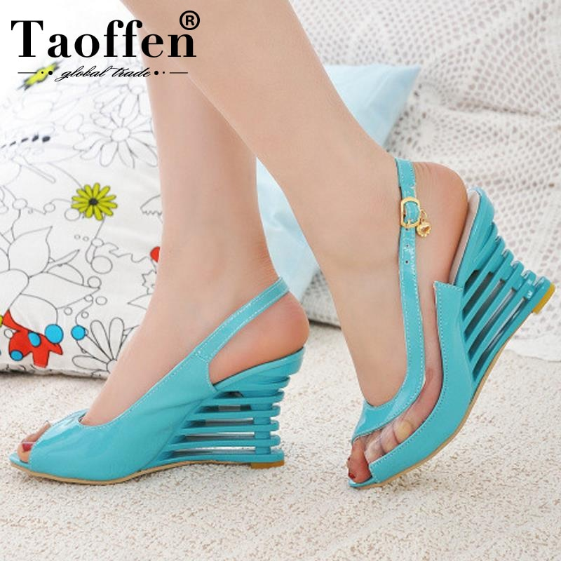 Taoffen 2019 New Women Heel Sandals Buckle Open Toe High Wedge Shoes Women's Summer Shoes Sexy Women Shoes Footwear Size 34-43
