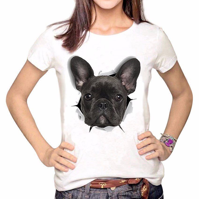 Topjini 3D French Bulldog Print Short Sleeve O-Neck Women T-Shirt 2019 Summer Harajuku Loose Female Tops