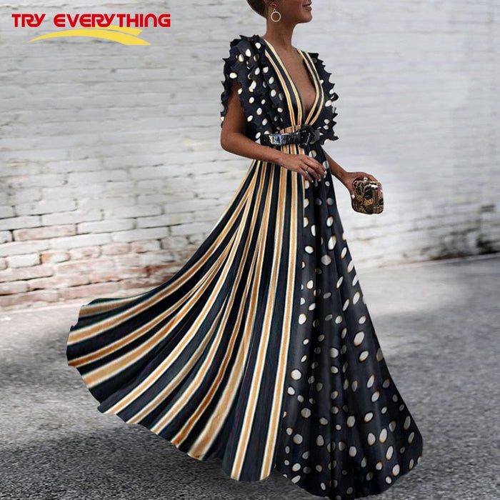 be3c33d78ae5 Try Everything Long Boho Dress Summer 2019 Sexy Dress Women Deep V Neck Polka  Dot Dress