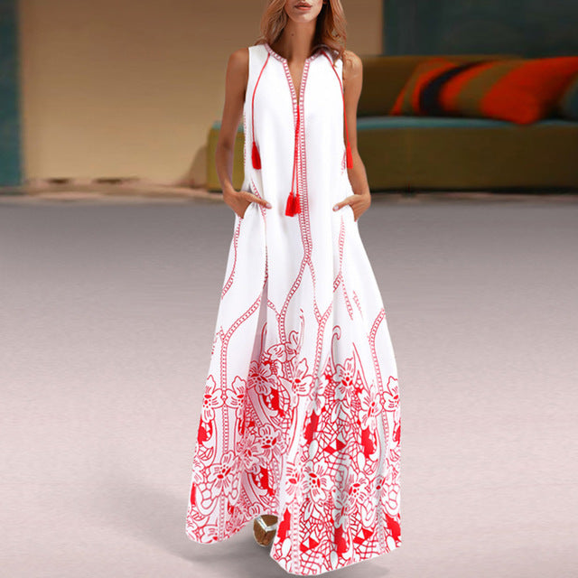 Try Everything White Summer Beach Dress Women Plus Size 2019 Fashion Red  Cotton Boho Dress Sleeveless Printed Long Maxi Dress