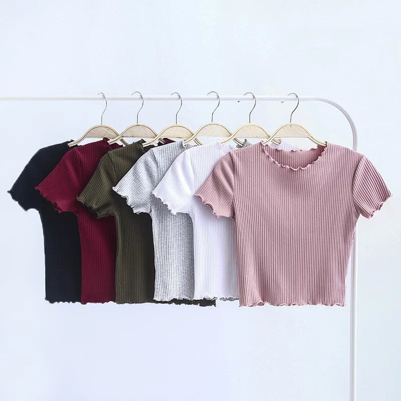 Vintage Wood ears O neck Short sleeve T-shirt 2019 New Woman Slim Fit t shirt tight tee Summer Retro Tops 6 colors