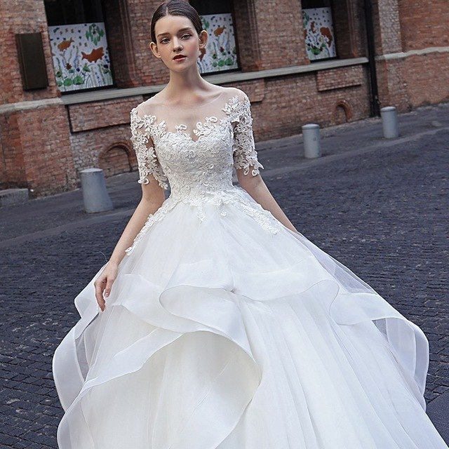 shoes for cheap in stock on wholesale Vivian's Bridal 2019 Hot Princess Style Ball Gown Wedding Dress Lovely  Ruffle Lace Appliques Half Sleeve Customize Wedding Gown