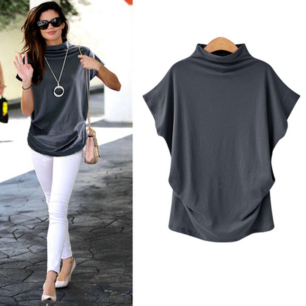 Women Casual Summer T Shirt Short Batwing Sleeve Loose Tops Solid Black Gray Turtleneck Tee Shirt 2019 T-Shirts Femme Tees Tops