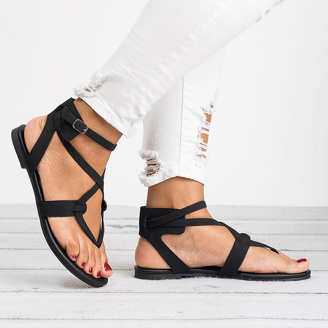 Women Sandals 2019 Fashion Bandage Gladiator Sandals Summer Shoes Woman Casual Rome Style Flat Sandals Beach Chaussures Femme