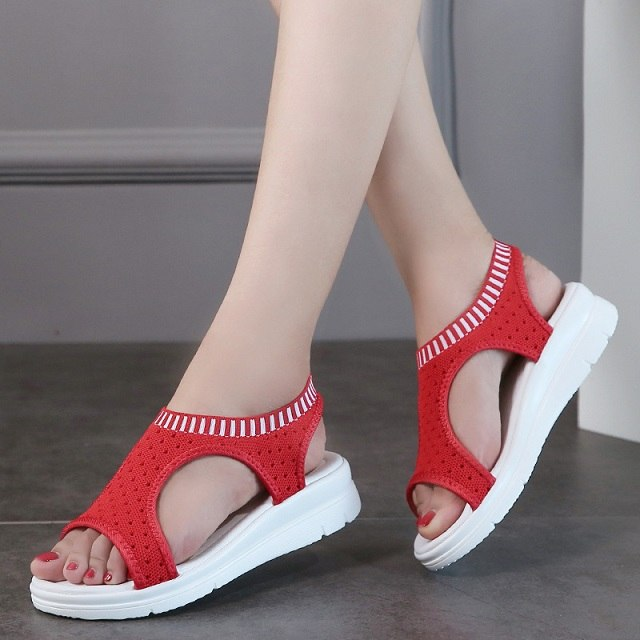 Women Sandals 2019 New Female Shoes Woman Summer Wedge Comfortable Sandals Ladies Shoes Slip-on Flat Sandals Women Sandalias